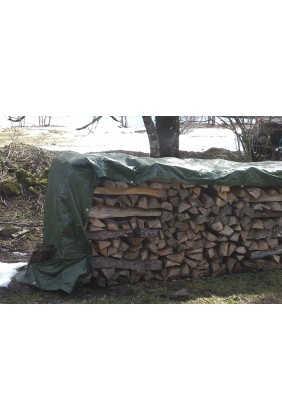 Holzabdeckplane Brennholzstapel  210 gramm grün